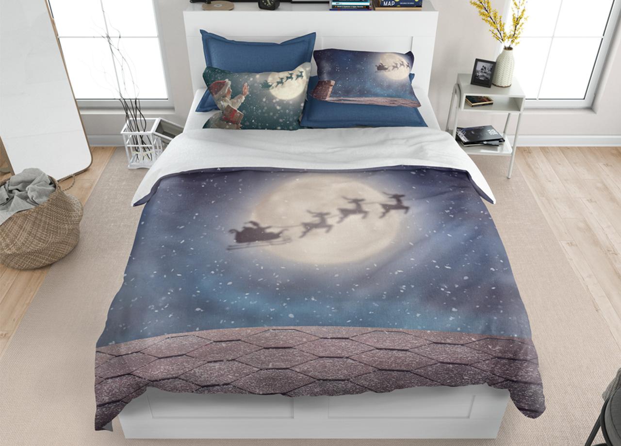 Parure Copripiumino Natale.Parure Copripiumino In Stampa Digitale Disegno Notte Di Natale Ebay