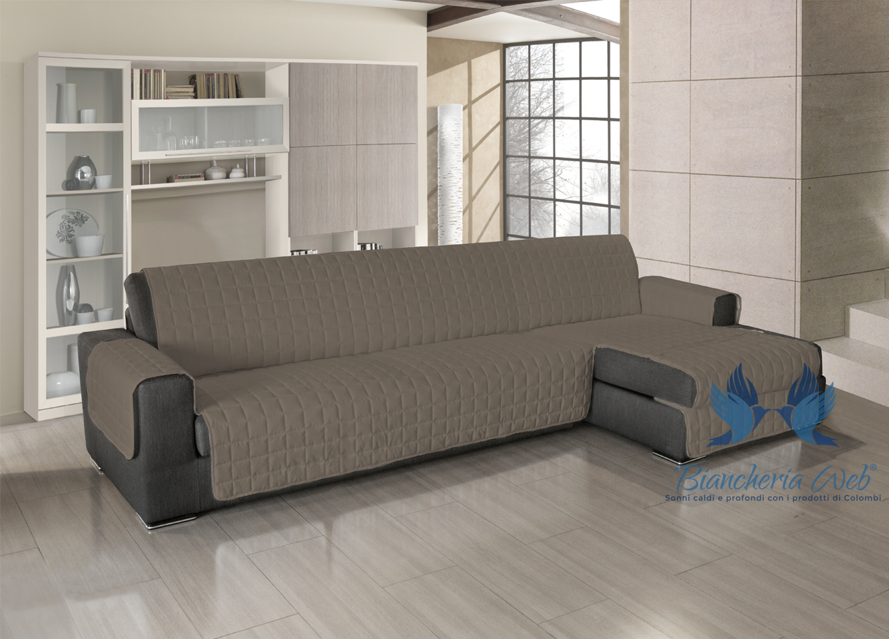 Copridivano trapuntato per divani con penisola in tinta - Copridivano per divano con penisola ...