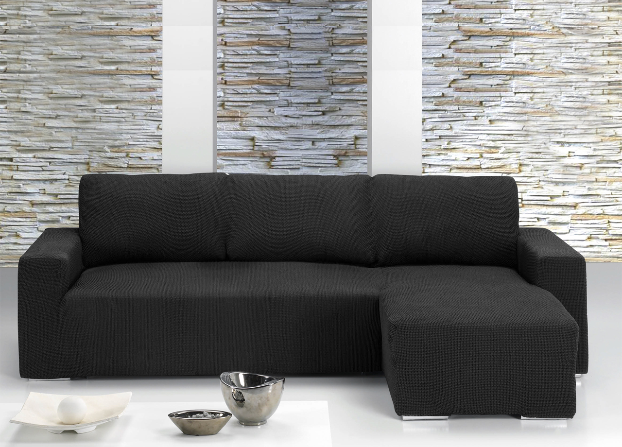 Copridivano con penisola chaise longue nero ebay - Copridivano per divano con chaise longue ...