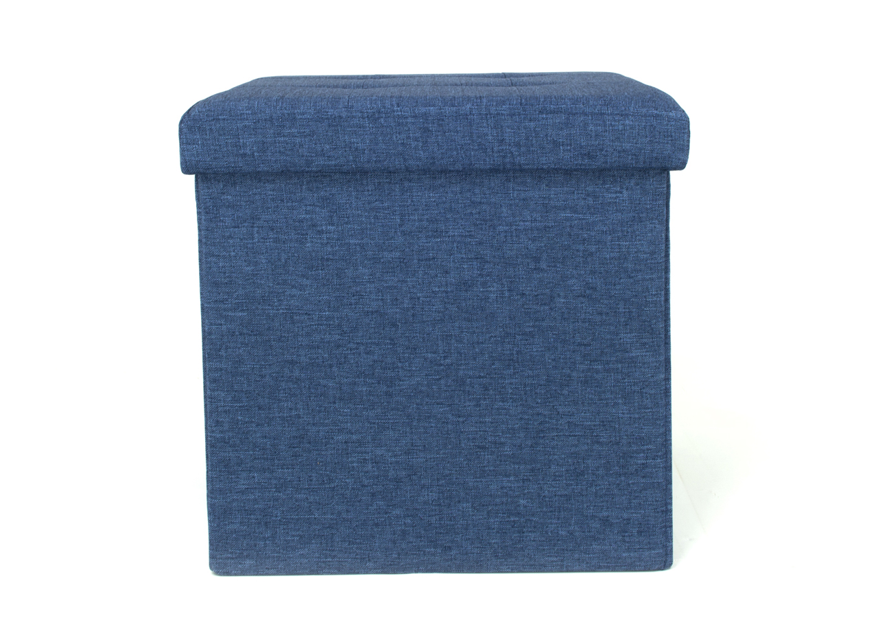 Pouf Contenitore Imbottito Pieghevole Modello Liner Colore Blue Jeans