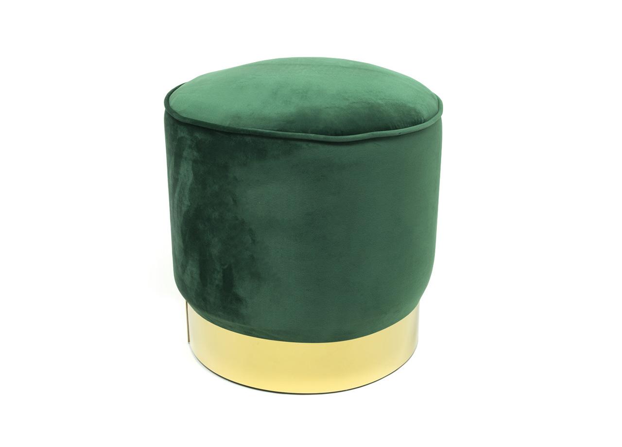 Pouf Puff Sgabello di Stoccaggio Poggiapiedi Contenitore in Velluto Rotondo Dorata Moderno Design Verde