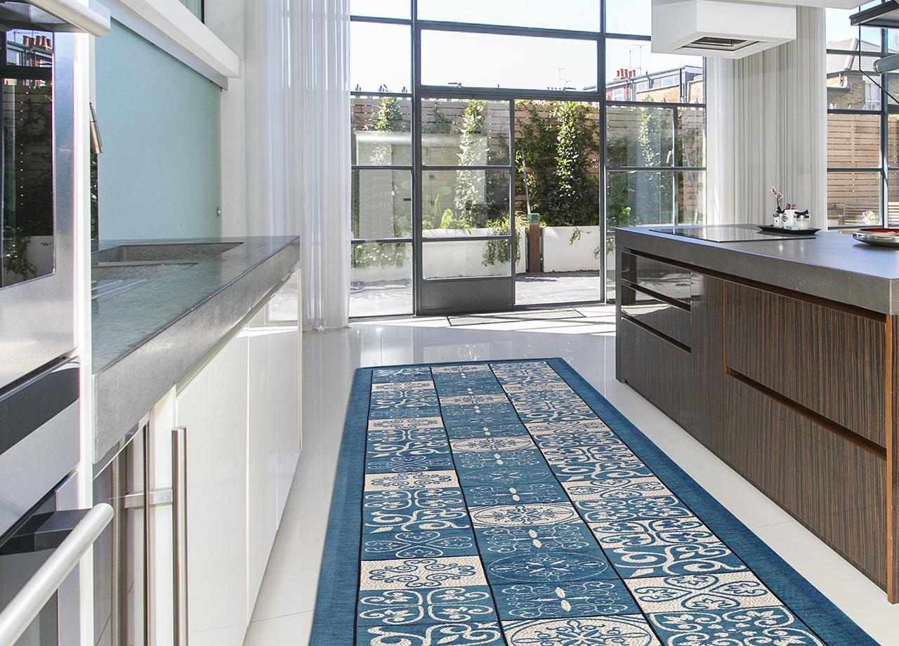 Tappeto con retro antiscivolo da cucina disegno maiolica for Disegno cucina